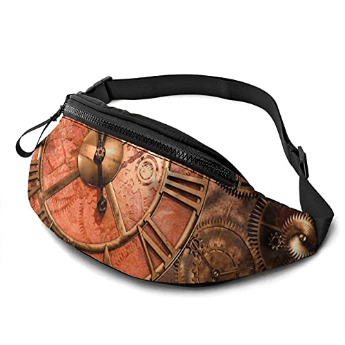 Reloj Gears Riñonera con agujero para auriculares, riñonera para hombres y mujeres con correa ajustable para exteriores, Negro, Talla única,