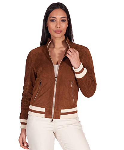 D'Arienzo Tan Genuine Italian Suede Leather Bomber Jacket Women Leather Moto Jacket Made in Italy G154