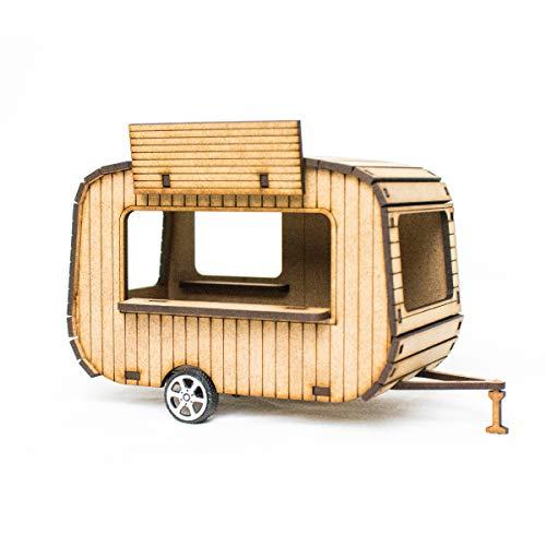 PROSCALE Caravana maqueta 1:32 para Pistas de Slot, Kit de Madera para Montar DIY Compatible con circuitos Coches Scalextric, Ninco Slot, Scalextric Original, Carrera y ScaleAuto