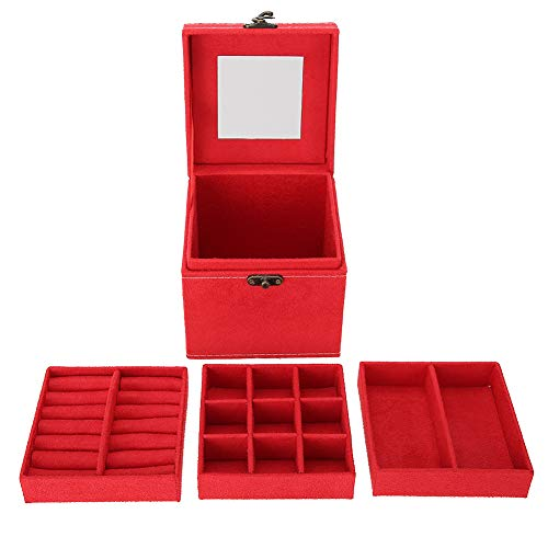 Da Dini Joyero organizador de madera de 3 capas de almacenamiento para joyas, para viajes, pendientes, collares, pulseras, color rojo