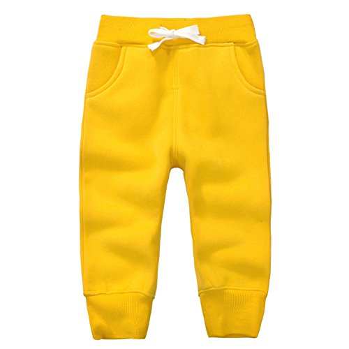 CuteOn Unisex Toddler Jogger Pants Kids Cotton Elastic Waist Winter Baby Sweatpants Pants 1-5Years Yellow