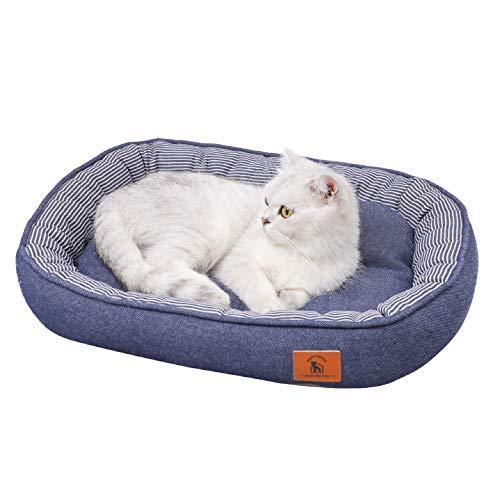 PEOPLE&PETS猫ベッド 犬ベッド ペットベッド 通年 耐え噛み抗菌防静電綿表生地 滑りにくい裏生地 ふわふわ3D綿 毛取りやすい 洗える M 54x44x10CM おしゃれなデニム 楕円型