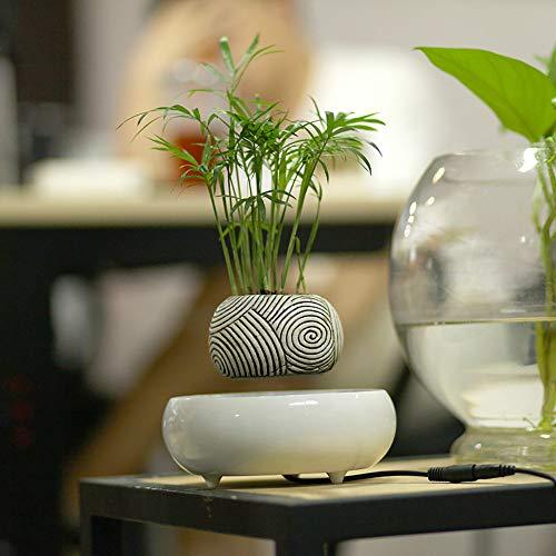 LNLN nagemaakte keramische pot, keramische bloempot met magnetische dispensering van de hars, hoofdslaapkamer-woonkamer-kantoordecoratie, automatische rotatie 360 °