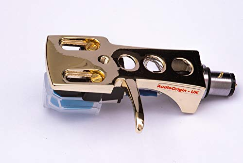 Gold plated Headshell, mount, cartridge and stylus, needle for Pioneer PL100, PL112D, PL115D, PL117D, PL120, PL300, PL400, PL510, PL514, PL514X, PL550, PL570, PL1170, MADE IN ENGLAND