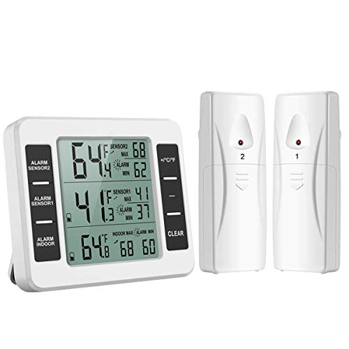 HunterBee - Termometro da frigorifero con doppio sensore per uso domestico senza fili, allarme e termometro digitale LCD