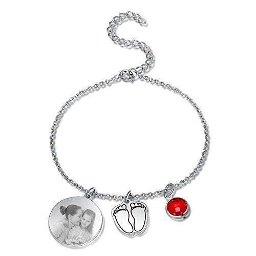 Albertband Pulsera para mujer Pulsera con piedras de nacimiento personalizadas con nombre y foto Joyas para el día de la madre Colgante de pie de bebé para madre y familia (#texto y foto)