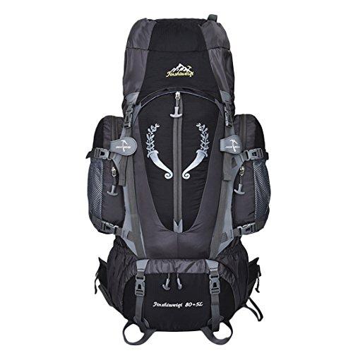 Foxom 85L zaino da escursionismo zaino telaio interno per uomo donna Outdoor campeggio trekking da viaggio arrampicata alpinismo, Black