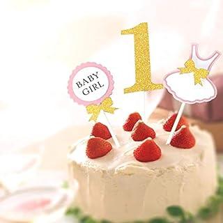 ファーストバースデー ケーキ トッパー 3点セット Limpommeオリジナルパッケージ ケーキ デコレーション 1才 1歳 一才 一歳 誕生日 記念撮影 (ピンク)