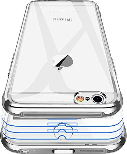 Garegce Coque pour iPhone 6, Coque pour iPhone 6s, 3 × Verre trempé Protecteur écran, Transparente Silicone Placage Cover, Antichoc Bumper Souple Protection Case pour iPhone 6, 6s - 4.7 Pouces-Argent