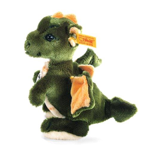 Steiff Raudi Drachenjunge - 17 cm - Kuscheltier für Kinder - Plüsch Drache stehend - weich & waschbar - grün / orange (015076)