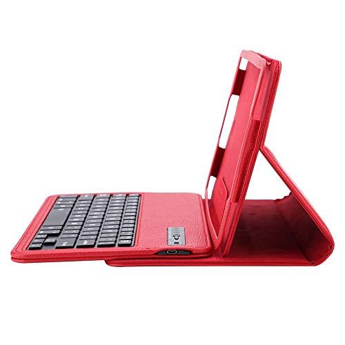 10.1 inch tablet-toetsenbordbehuizing, Bewinner Wireless Bluetooth-tabletbehuizing met toetsenbord voor Samsung Tab A 10.1 T580-tabletstandaard om op internet te surfen, video's te bekijken tijdens het spelen (rood)