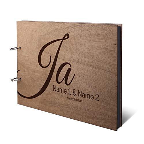 Hochzeit Fotoalbum Okoume Holz Gravur individuell Holzcover mit 50 Fotokarton 300g/qm schwarzen Innenseiten (25 Blätter) DIN A4 quer 302 x 215 mm - Ja
