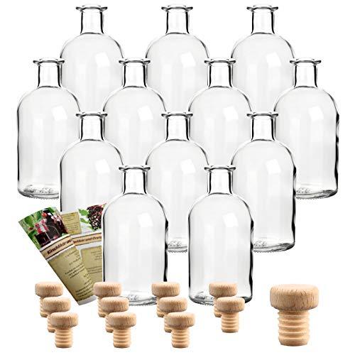 gouveo 12er Set 250 ml Glasflaschen Apotheker incl. Holzgriffkorken mit Motiv Standard - Leere Flaschen incl. 28-seitige Flaschendiscount-Rezeptbroschüre