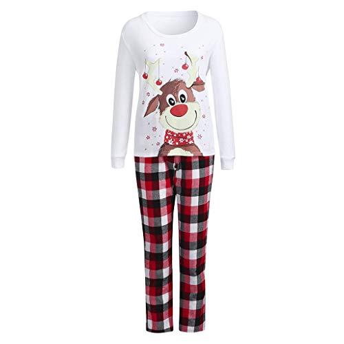 Natale Alce Pigiama Famiglia Indumenti da Notte Abiti Natalizi Tuta Invernale Elegante 2PC Uomo Donna Bambini T-Shirt Tops + Pantaloni Regalo Pigiama Set