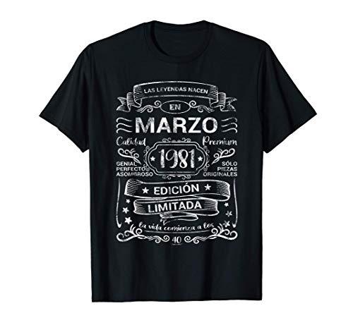 Leyendas Marzo 1981 Regalo Hombre Mujer 40 Años Cumpleaños Camiseta
