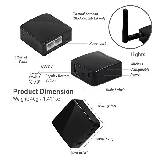 GL.iNet GL-AR300M Mini Travel Router with 2dbi external antenna, Wi-Fi Converter, OpenWrt Pre-installed, Repeater Bridge, 300Mbps High Performance, 128MB Nand flash, 128MB RAM, OpenVPN, Tor Compatible