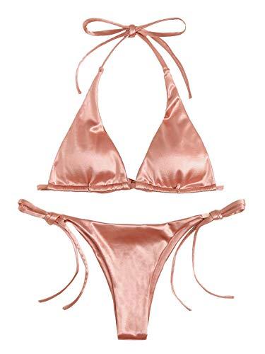 SOLY HUX Women's Sexy Metallic Halter Top Swimsuit Tie Side Triangle Bikini Pink Large
