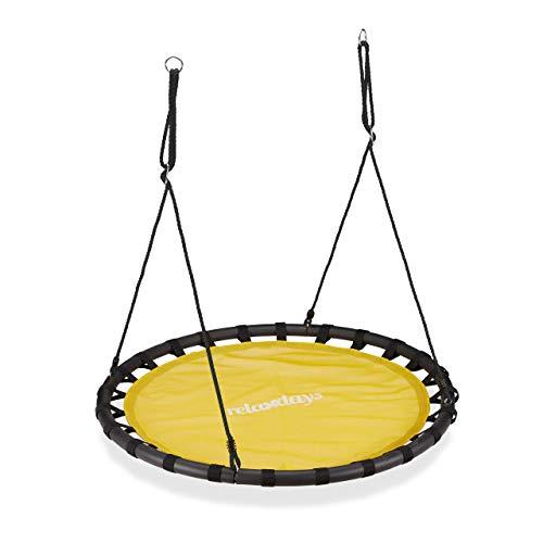 Relaxdays Altalena da Giardino a Nido, per Bambini e Adulti, Regolabile, Ø 120 cm, Portata Max. 100 kg, Gialla