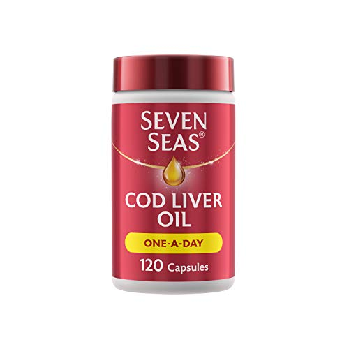 Cod Liver Oil One-A-Day by Seven Seas, Omega-3 Supplement Supporting Brain, Heart, Vision, Plus High Strength Vitamin D for the Immune System, 120 Capsules