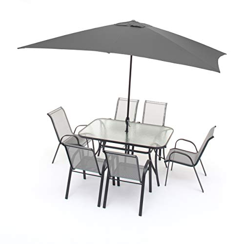 GS1 Suiza, Juego de Comedor de jardín, Seis plazas, Completo de Mesa, sillones y sombrilla