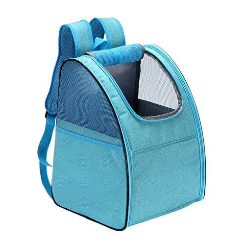 WE-WHLL Foldable Pet Cat Dogs Backpack Carrier Puppy Carrying Case Mesh Windows Ventilated Design Breathable Travel Bag for Hiking Camping Outdoor Use-Blue