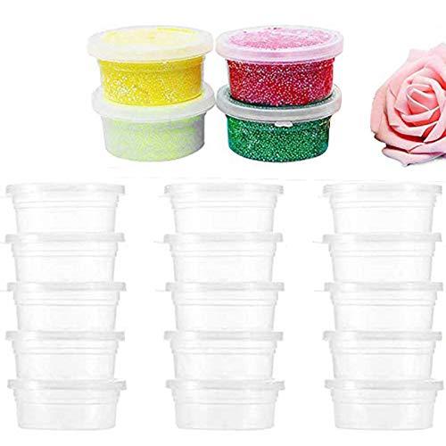 Surflyee 40Pz Contenitori di Slime, Contenitore di Salsa Alimentari in Plastica con Coperchio a Prova di Perdite per Salsa Alimentari Palline