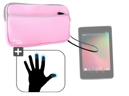 DURAGADGET Housse étui résistant en néoprène Rose + Paire de Gants capacitifs Taille M (Moyen) pour Google Nexus 7 ASUS Tablette Android 4.1 Jellybean