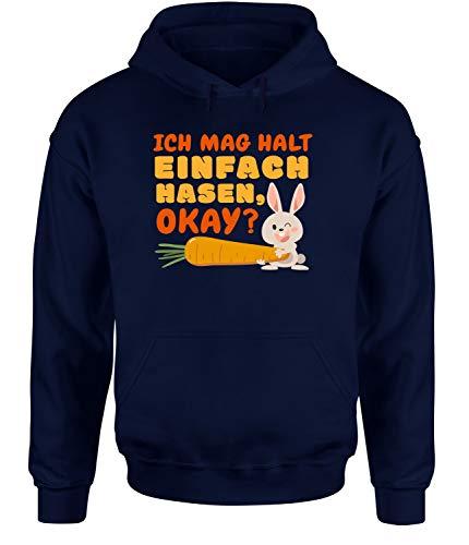tshirtladen Ich mag Halt einfach Hasen okay?!? Hoodie Unisex Hasenshirt, Farbe: Navy, Größe: X-Large