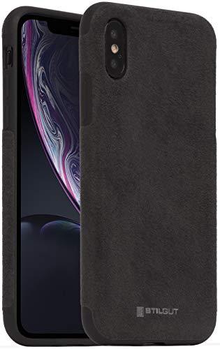 StilGut Alcantara entwickelt für iPhone XS Hülle - iPhone X Hülle Lederoptik, Bumper aus TPU & Alcantara, schwarz