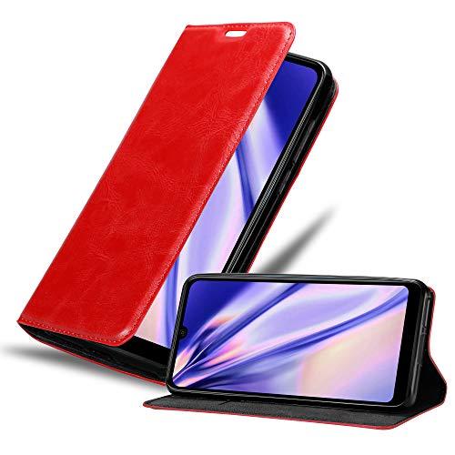 Cadorabo Hülle für WIKO View 3 LITE in Apfel ROT - Handyhülle mit Magnetverschluss, Standfunktion & Kartenfach - Hülle Cover Schutzhülle Etui Tasche Book Klapp Style