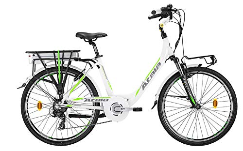 Atala Citybike elettrica pedalata assistita E-Run FS Lady, Misura Unica 45cm (Statura 150-175 cm), 6 velocità, Colore Bianco Verde