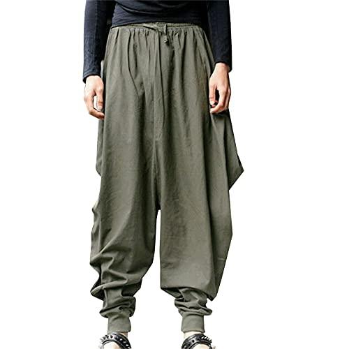 AOCRD Pantalones harén para hombre, de algodón y lino, sueltos, para yoga, estilo hippie, verde militar, XXL