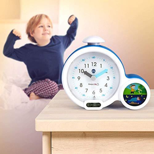 Claessens' Kid - Clock - Réveil Enfant Educatif Jour/Nuit Lumineux - Double Affichage et 3 Alarmes au choix - Fonctionne Sur Secteur ou à Piles - Bleu