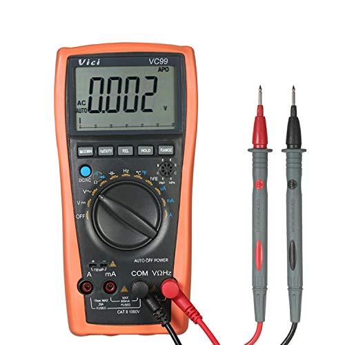 VC99 Multímetro digital Auto Range 80000 Count Tester Probador de resistencia de CA Voltímetro digital Amperímetro Diodo de capacitancia