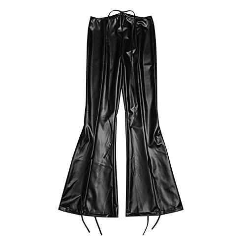 LXCQI Pantalones De Flarinillos De Cintura Alta De Cuero Pantalones para Mujer Pantalones Tight Christmas Sexy Vendaje Fitness Fitness-Negro_S