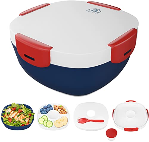 BENRII Adult Bento Box- [Ice Pack for Lunch Box] - Bento Lunch Box - Salad container/ Meal Prep Containers Reusable with 4-Compartments Tray, Spork, Dressing container, Bento Box Adult & Kids (Red)