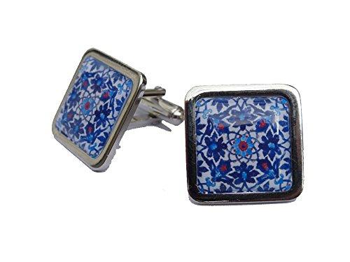 Magnifique motif Floral espagnol carrelage de boutons de manchettes