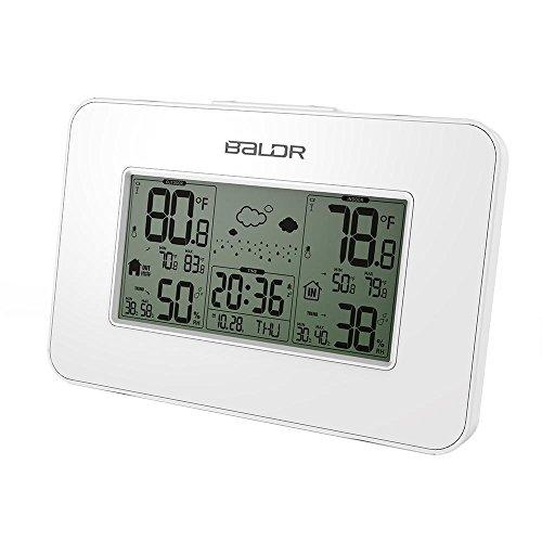 Baldr intérieur et extérieur rétroéclairé bleu thermomètre hygromètre électronique Station météo avec horloge émetteur , white