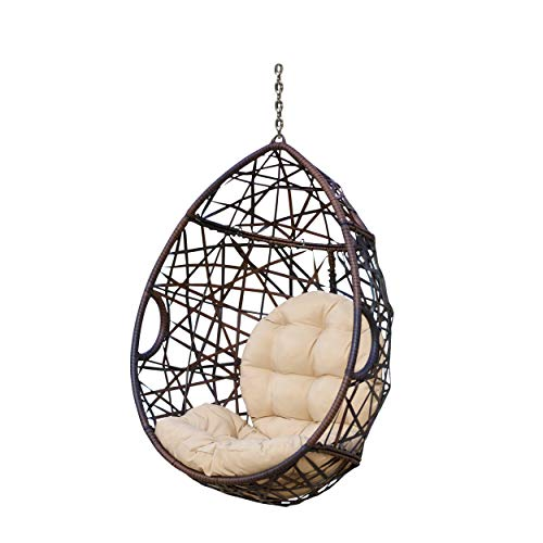 Christopher Knight Home 312592 Cayuse Indoor/Outdoor Wicker Tear Drop Hanging Chair (Stand Not Included), Multi-Brown and Tan