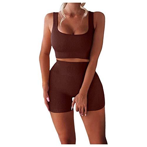 Conjuntos de yoga sin costuras para mujer Conjuntos de entrenamiento de 2 piezas Sujetador deportivo y leggings de cintura alta Conjuntos Chándales Ropa deportiva Ropa deportiva Conjunto M marrón