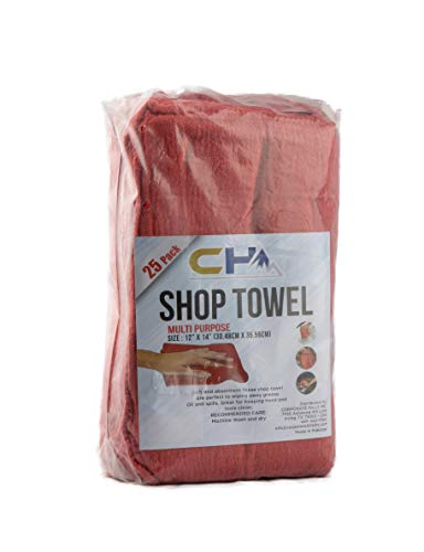 CH Premium Red Shop Towel 25 Pack, Size 12 x 14 Inches - Reusable High Grade 100% Cotton Washable Cleaning Cloths - Perfect Shop Rags for Mechanic Work