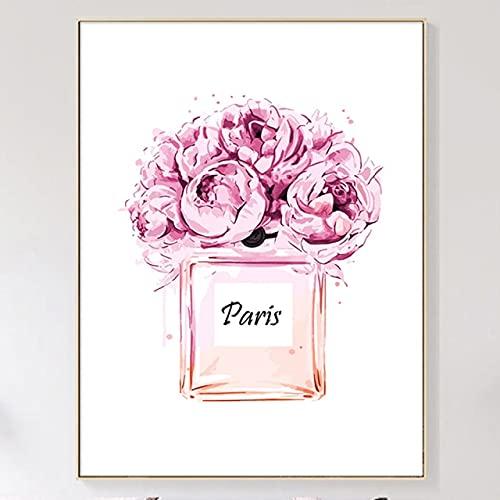 PEKSLA Hermoso arte de la pared de la pintura de donuts rosados, perfume de París 40 x 60 cm sin marco arte de la pared para la decoración del hogar del dormitorio