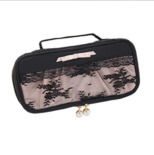 YANGSANJIN Travel cosmetische tas draagtas, cosmetische opbergdoos krultang, borstel deksel en cosmetica, geschikt voor familie en reizen (zwart)