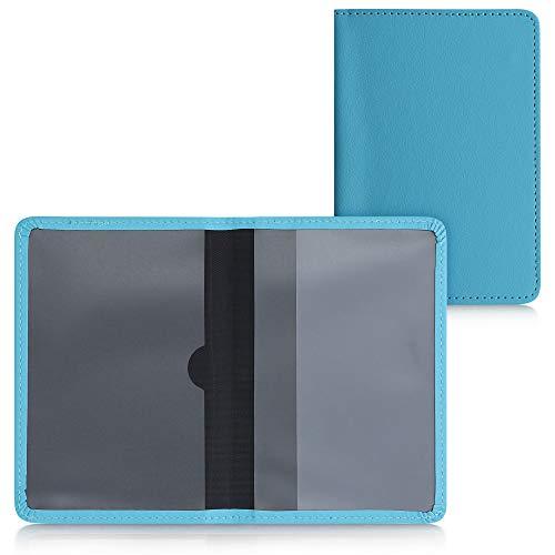 kwmobile Funda para permiso de circulación coche de cuero sintético - Con espacio para tarjetas 9.2 x 13 CM doblado - azul claro