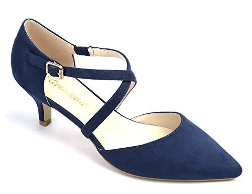 Greatonu Damen Pumps mit Schnürsenkel Kitten Heel Pointed Toe Blau Größe 39 EU