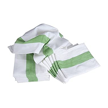 White Cotton Kitchen Dish Towels with Green Stripe in HerringBone Weave, Large Dish Cloth Size 20 inch x 28 inch, Soft and Absorbent, Set of 6
