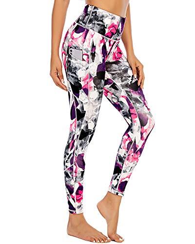 Sporthose Frauen Hohe Taille Leggings Slim Fit Blickdicht mit Taschen Fitnesshose Pants Bangkok S