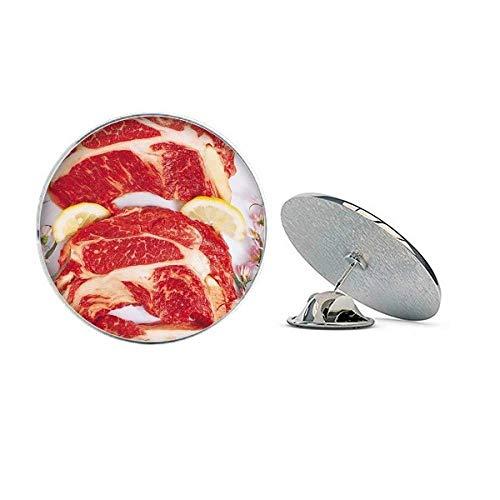 Broche redondo de metal com textura de carne crua de carne