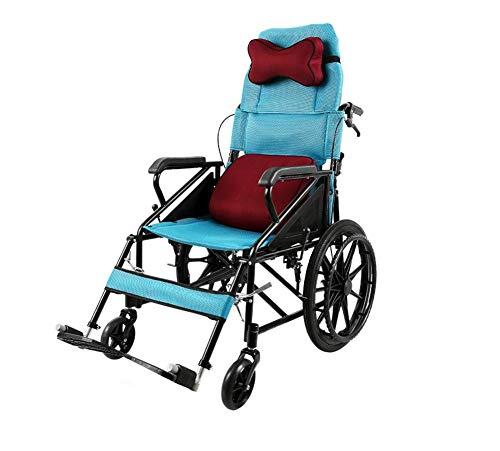 Unbekannt High Back Halb Liegerad Rollstuhl Folding Leichte Kleine Multifunktionale tragbare Ältere bequem und stabil Firm Trolley,Blau
