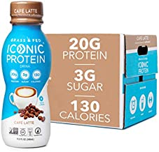 Iconic Beverages Protein Drinks, Cafe Latte (12 Pack) | Low Carb, High Protein | 20G Protein + 180mg Caffeine | Grass Fed, Lactose Free, Gluten Free, Non-GMO, Kosher | Keto Friendly